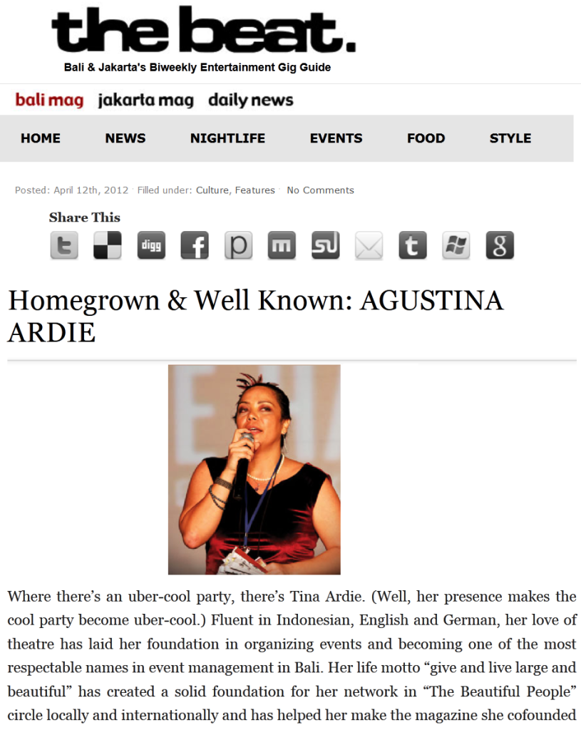 Homegrown & Well Known: Agustina Ardie - the beat